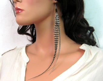 N3720 long feather earrings