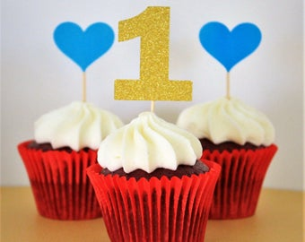 Birthday Numbers + Coloured Hearts Cupcake Toppers
