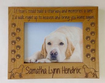 Dog Memorial Picture Frame 5x7 Pet Custom Laser Engraved Frame