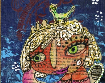 The Dreamer Mixed Media Modern Contemporary Original Raw Folk Art Painting on blue Vintage Book Cover