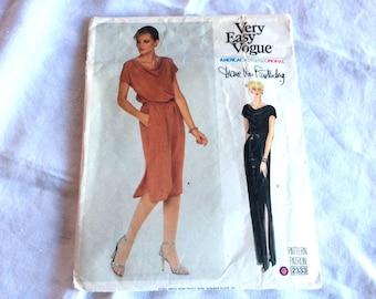 Vogue Diane Von Furstenberg Pattern, Vogue 2333, American Designer Original, Dress in Two Lengths, Disco Dress, Size 12