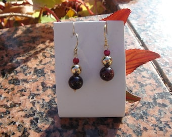 Earrings with Garnet and coral in 585-er silver!