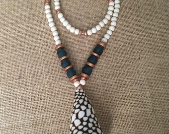 Deep Teal Cone Shell Necklace