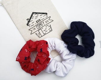 Summer Scrunchie - Scrunchie - Red White and Blue - Hair Scrunchie - Handmade Scrunchie - Scrunchies