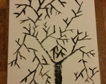 Beautiful charcoal TREE sketch on stretched canvas.