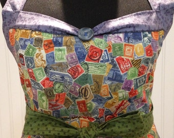 Women's full apron postal theme blue green orange ruffled cotton shabby chic postal toile long green fabric ties posh girl apron
