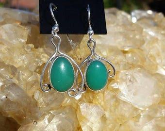 Chrysoprase earrings, silver earrings