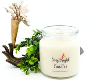 SoyBright™ Tabac and Leather All Natural Soy Wax Apothecary Jar Candle | Wooden Wick | Eco-Friendly | Hand Poured | You Pick Scent - 16 oz