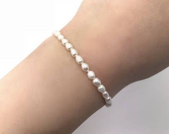 Tiny natural pearl bead thin bracelet freshwater pearl in silver