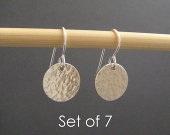 """bridesmaid earrings. SET OF 7. small silver hammered circle earrings. sterling silver dangle drop. simple bridal gifts. wedding jewelry 1/2"""""""