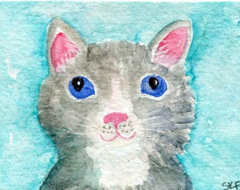 ACEO Original Cat watercolor painting, gray, white Kitty Painting, Cat Art Card, cat painting, small cat artwork