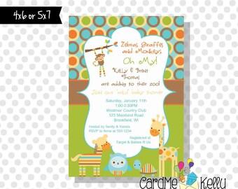 Printable Girl or Boy Jungle Zoo Animals Baby Shower Invitation - Digital Dile