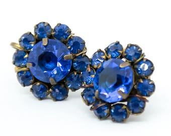 Vintage Earrings  - Blue Glass Earrings - Blue Screwback Earrings -  1940's Jewelry - Gift for her - Gift Idea  - Mom Gift  - Wife Gift