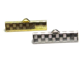 10x Brass Ribbon Crimp Ends 25 mm - Gold or Platinum coloured - Crimp Terminals for Flat Cord or Macrame