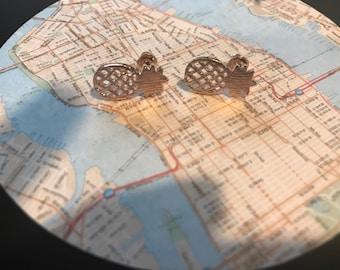 Rose gold pineapple earring set