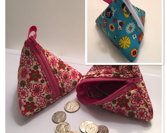 Triangle Coin Pouch! Various patterns available.