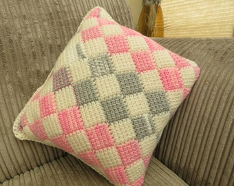 Pink. Grey and Cream scatter cushion