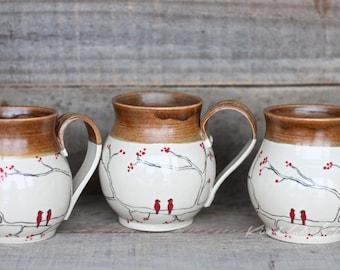 Hand painted bird mug, ceramic coffee mug, tea cup, Latte mug, cappuccino mug, unique coffee mug, ceramic mug, pottery mug, kitchen decor
