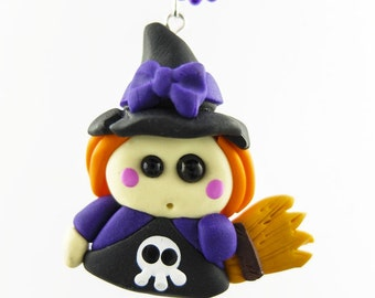 1x Witch Halloween Necklace Pendant