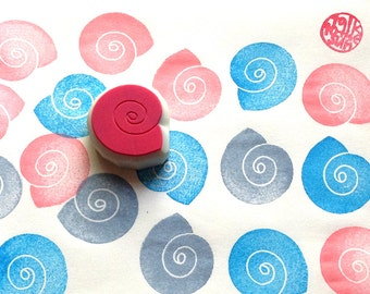 spiral shell rubber stamp | summer wedding birthday scrapbooking | diy party favor bas | gift for kids | hand carved by talktothesun