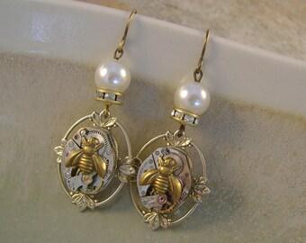 Queen Bee - Vintage Watch Movements Honey Bees Pearls Rhinestones Recycled Repurposed Steampunk Earrings Jewelry