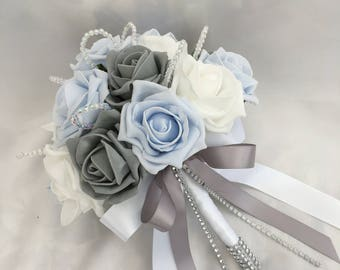 Artificial Wedding Flowers, Brides, Bridesmaids, Flower girls Posy Bouquet with Baby Blue, Grey and White Roses with crystal loops