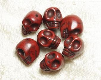 5pc - beads skulls Turquoise 18mm Brown 4558550026248 skulls