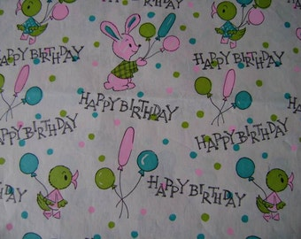 Vintage 1960s Happy Birthday Gift Wrap--Bunnies & Chicks--1 Sheet Vintage Wrapping Paper