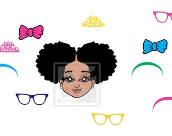 Focsi Girl with an Afro Puffs and Accessories SVG PNG