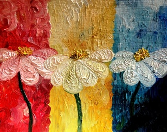 """Oil on canva """"White daisies"""""""
