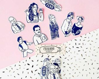 SALE - Other Friends Series - Sticker Pack -Set of 7 - Vinyl Stickers - Hand Drawn Sticker - Handmade Sticker - Friends Sticker