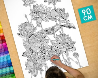 Poster / Poster deco coloring (90cm) Lotus - coloring for adults