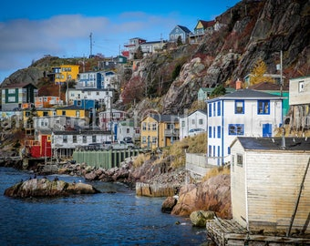 Fisherman Village Photo Newfoundland Photo Fine Art Photography St. John's Newfoundland Nautical Decor Bathroom Office Kitchen Decor