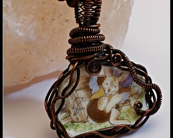 Vintage Broken China Pendant