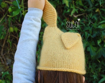 Kids Bunny Ears Beanie with Wool and Mohair