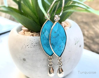 Turquoise Earrings / Sterling Drop Turquoise Earrings / Dangle Gemstone Earrings / Marquis Cut Earrings
