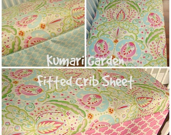 Kumari Garden Fitted Crib Sheet. Choose your fabric. Toddler Bedding
