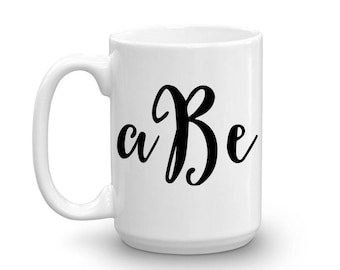Custom Monogram Mug - Personalized Coffee Cup with Initials - Luxury Office Accessories - 15oz Ceramic Cup - Sister Mom BFF Bridesmaid Gift