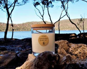 Soy Hawkesbury River Scented Artisan Container Candle with Wooden Lid and Gift Box