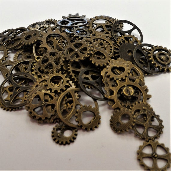 "CLEARANCE 134 pcs Steampunk Clock Gears Cogs Charms Assorted Mixed Metal Bike Steampunk Jewelry Bronze Bicycle Watch Gears 1/2"" to 1"""