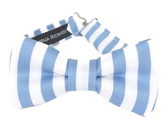 Blue striped bow tie for boys, striped bow tie, blue toddler bow tie, baby bow tie blue, blue and white, mens blue bow tie, kids bow ties