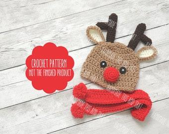 CROCHET PATTERN - Newborn reindeer hat, baby reindeer hat, reindeer hat pattern, reindeer hat set pattern, newborn photo prop, crochet