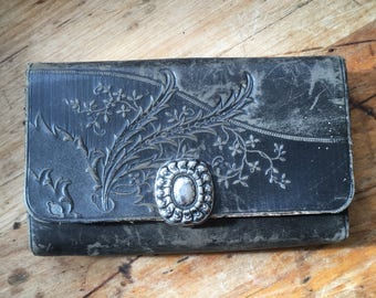 Antique Leather Change Purse Tooled Leather Floral Design