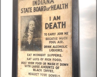 I am Death. Aged reproduction print in frame.