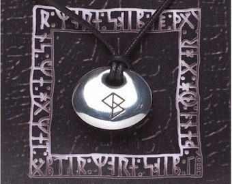 Viking Rune Stone Success Pendant On A Waxed Cord