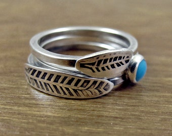 Feather Stacking Rings - Sterling Silver Rings - Custom Made Rings - Long Feather Short Feather Rings