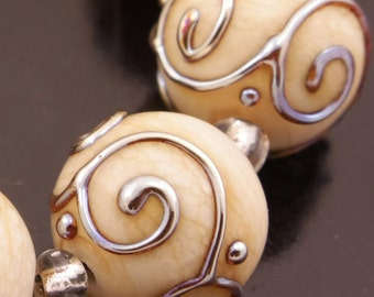 SRA Lampwork Beads Cream Ivory Glass Beads Metallic Lampwork Beads Ivory Lampwork Bead Set Handmade Scrollwork Beads Heather Behrendt