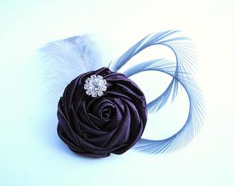 Purple bridesmaids flower fascinator,  wedding hair piece - Eggplant rosette with grey goose feathers and rhinestone - Patina