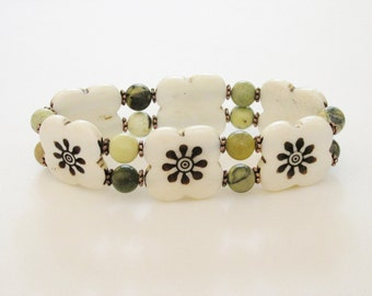 Fall Colors Bone Bracelet / Flowers / Hand Carved / African Jade / Cream / Green / Brown / Ethnic Inspired / Tribal / Island / Hawaii