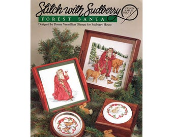 Forest Santa Cross Stitch Leaflet, Santa Cross Stitch Pamphlet, Vintage Cross Stitch, Craft Books, Santas, by NewYorkTreasures on Etsy